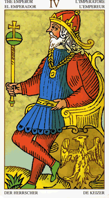 in the tarot, the Emperor is the symbol of the material, the highest material ranking that you could get in a certain context. Note the golden belt that he carries: it helps him keep his emotional side in balance. So, reaching material wealth is not just about your relationship with the material, but also about your human values